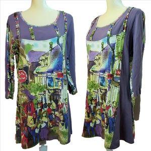MICHAEL LEU Wearable Art Street Scene Tunic Dress